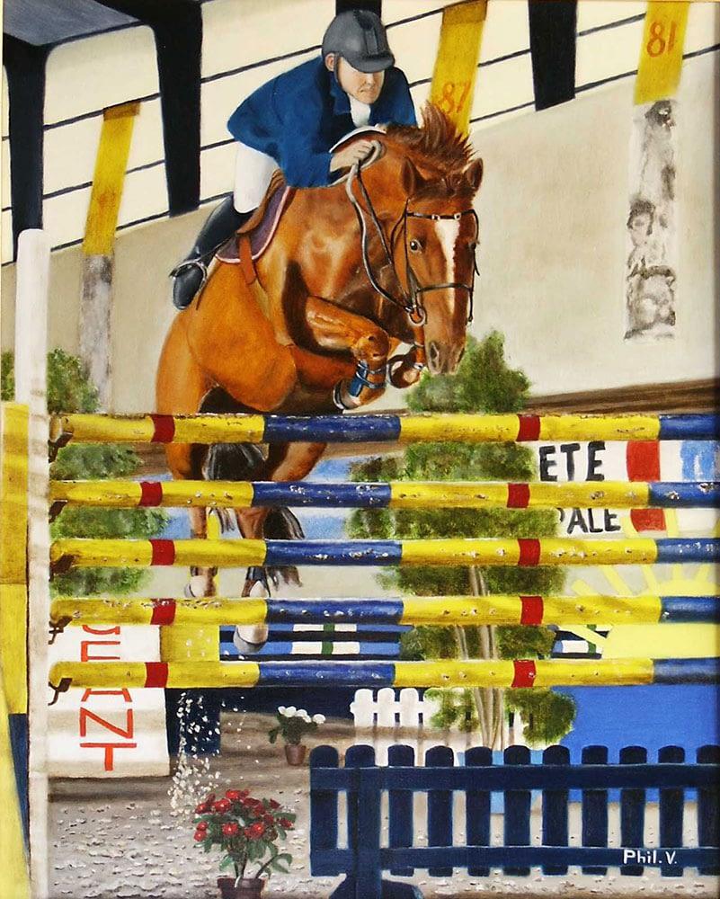 Peinture de cheval en saut d'obstacle