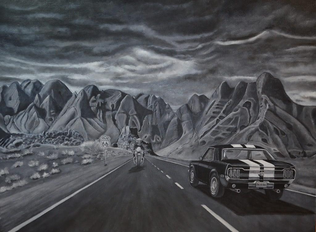 Peinture en noir et blanc voiture