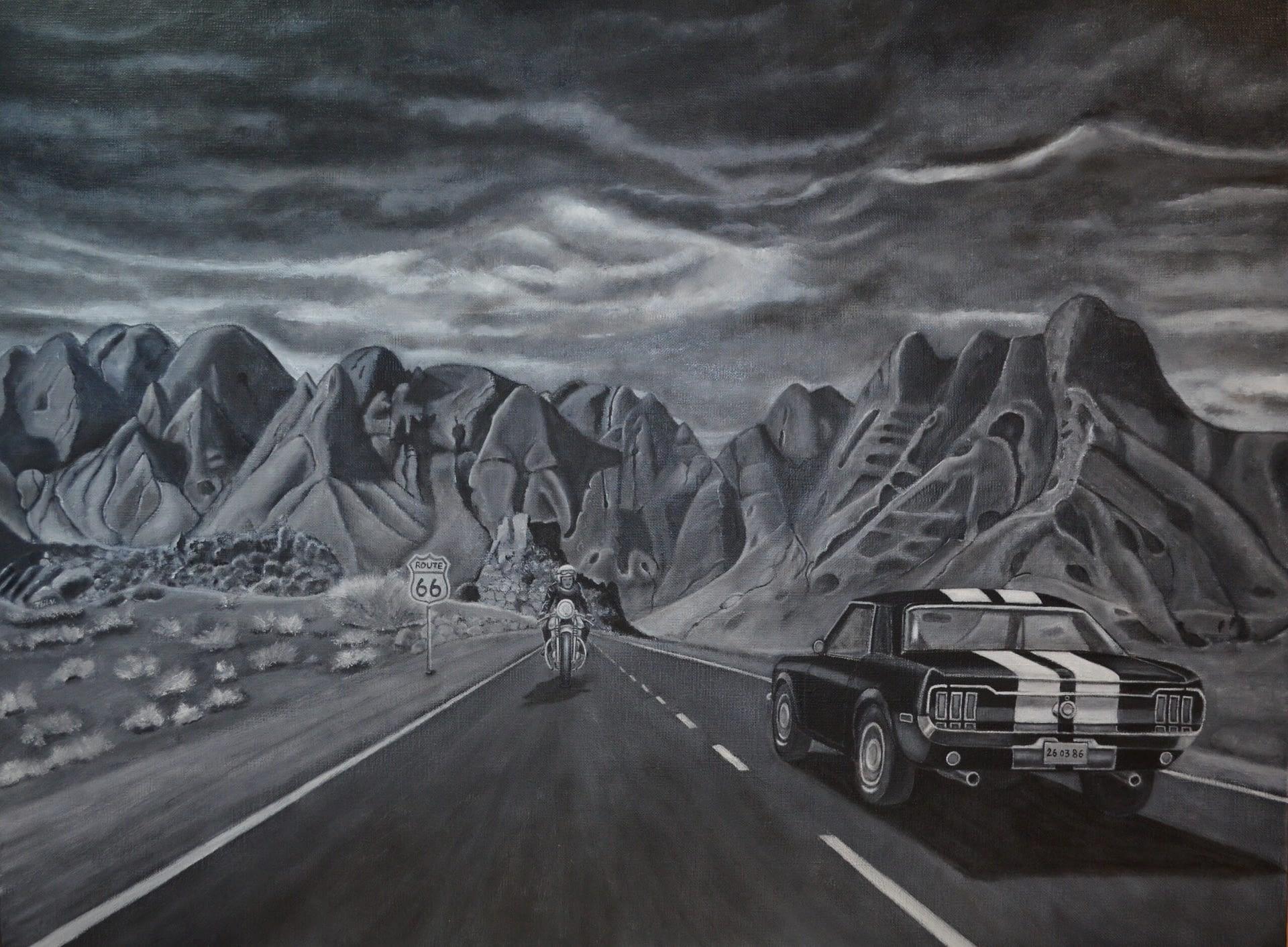 Peinture en noir et blanc d'une voiture