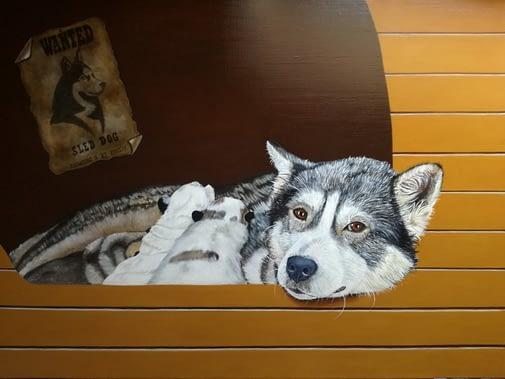 Peinture à l'huile de chien husky