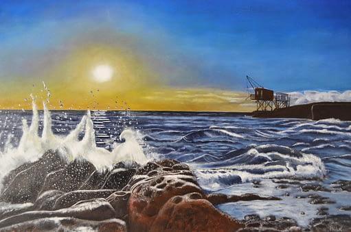 Peinture de mer déchaînée