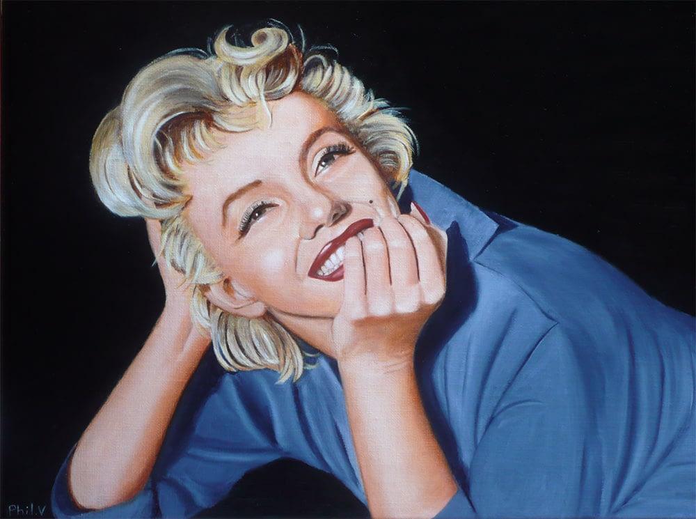 Peinture de Marilyn Monroe allongée