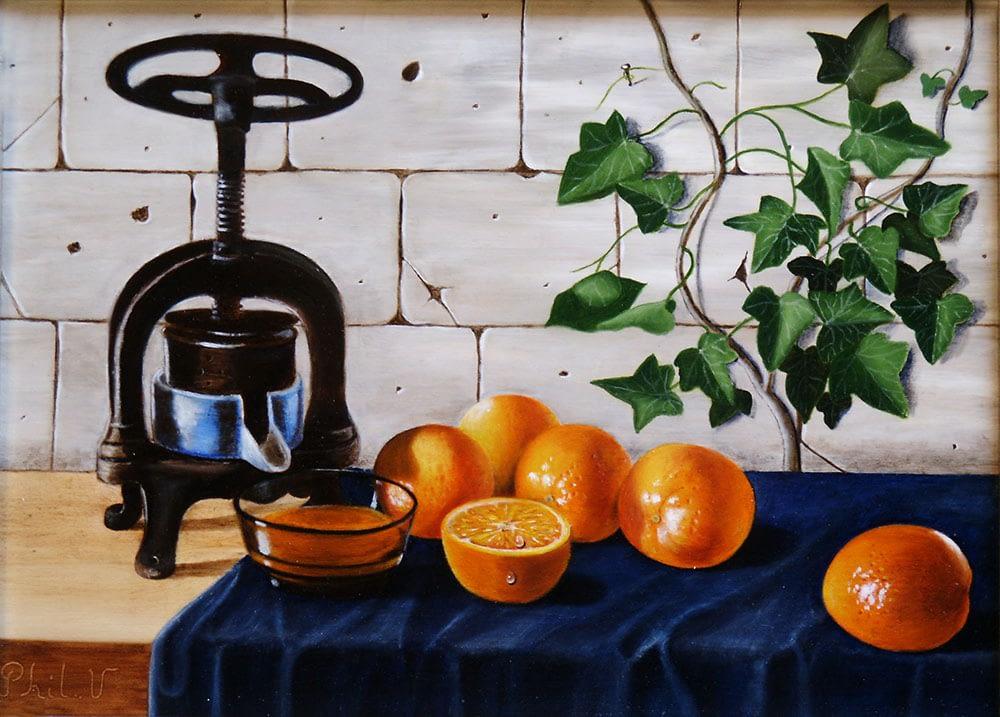 Tableau de nature morte au presse agrume et oranges