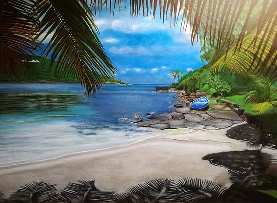 Peinture de plage St Barthélemy