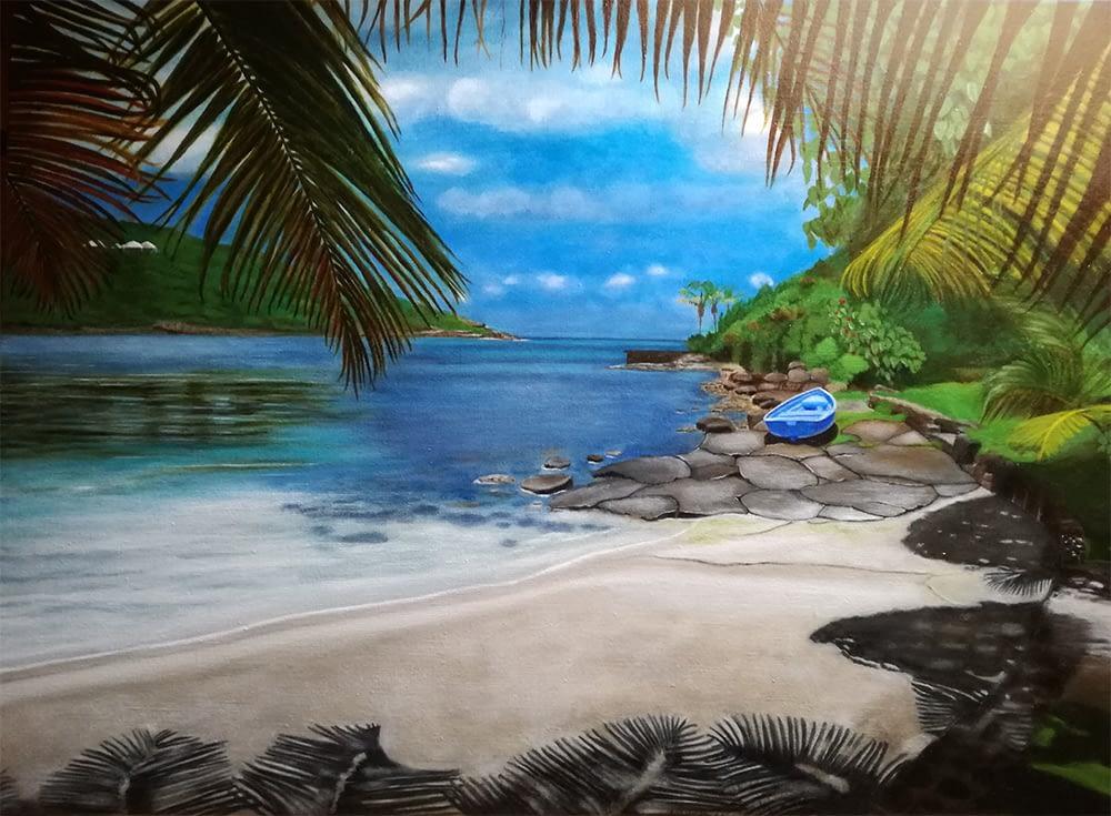 Peinture d'une plage à Saint-Barthélemy