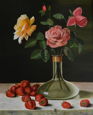 Peinture de nature morte de roses et de fraises