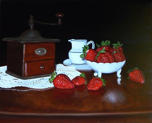 Nature morte de fraises et moulin