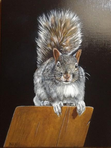 Peinture à l'huile d'un écureuil