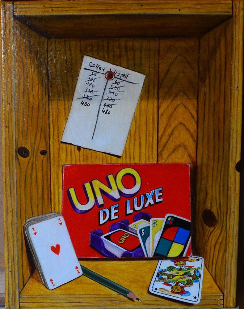 Peinture en trompe l'oeil aux jeux de cartes