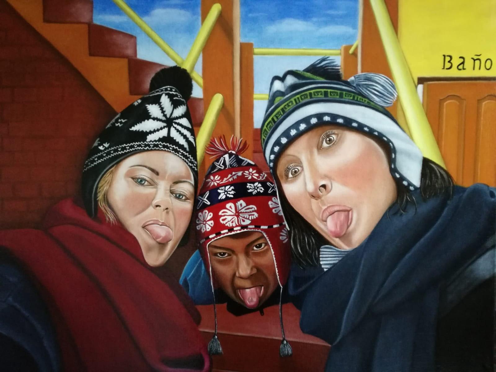 Peinture de portrait selfie au Pérou
