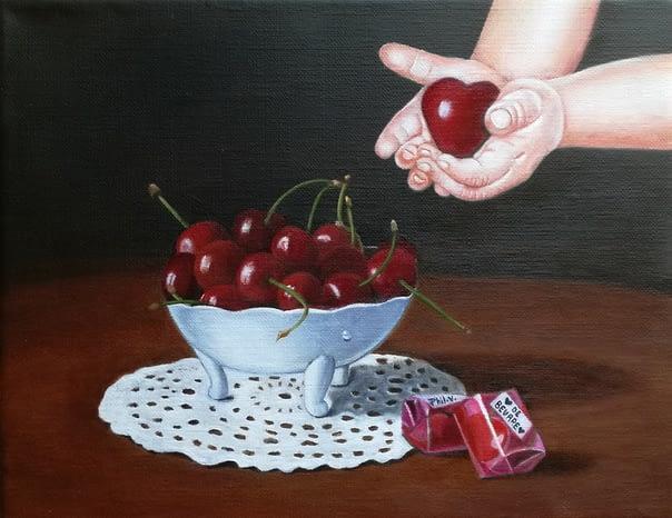 Peinture nature morte cerise coeur