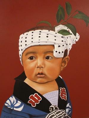 Peinture Portrait d'un enfant asiatique