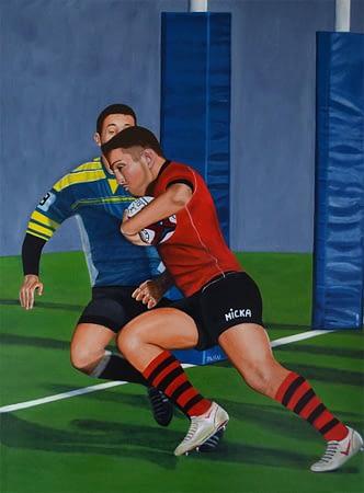 Peinture Rugbyman en action